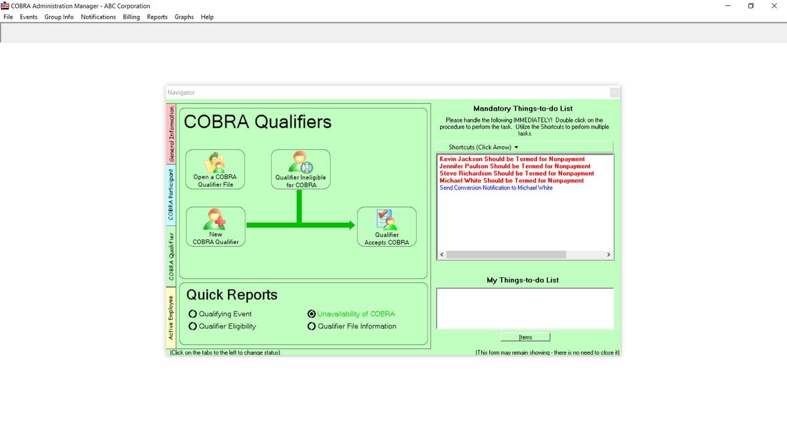 COBRA Administration Manager - Software Features - COBRA